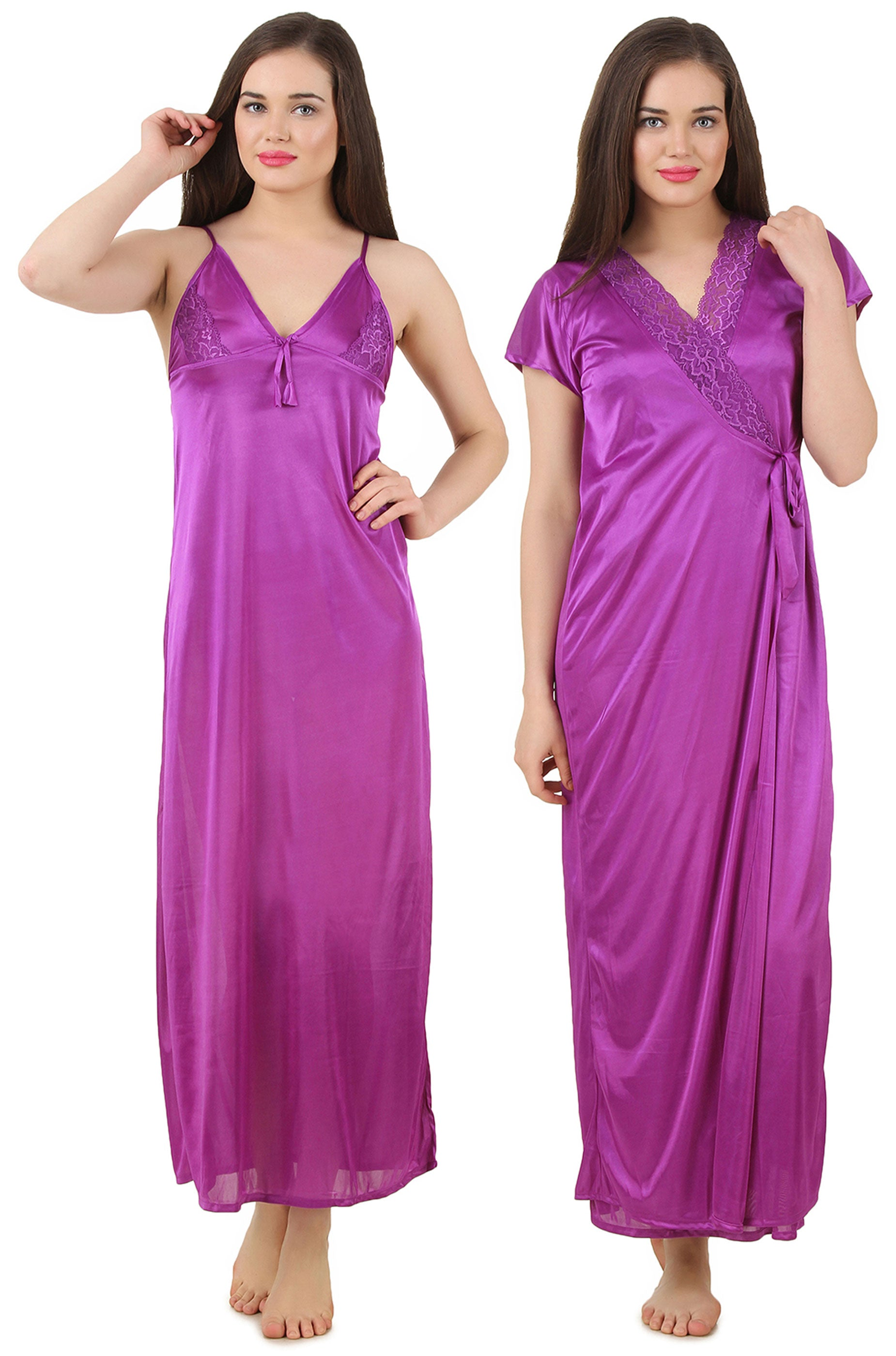 Fasense Satin 2 Pc Set of Nighty & Wrap Gown GT003 - fasensestore