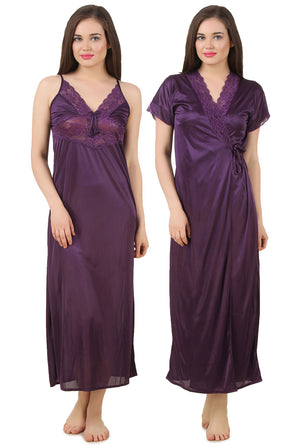 Fasense Satin 2 Pc Set of Nighty & Wrap Gown GT005 - fasensestore