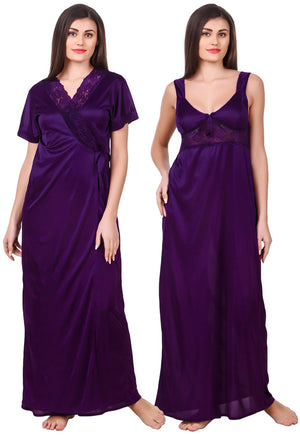 Fasense Satin 2 Pc Set of Nighty & Wrap Gown OM007