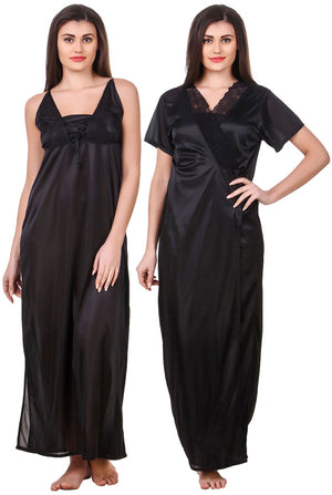 Fasense Satin 2 Pc Set of Nighty & Wrap Gown OM008 - fasensestore