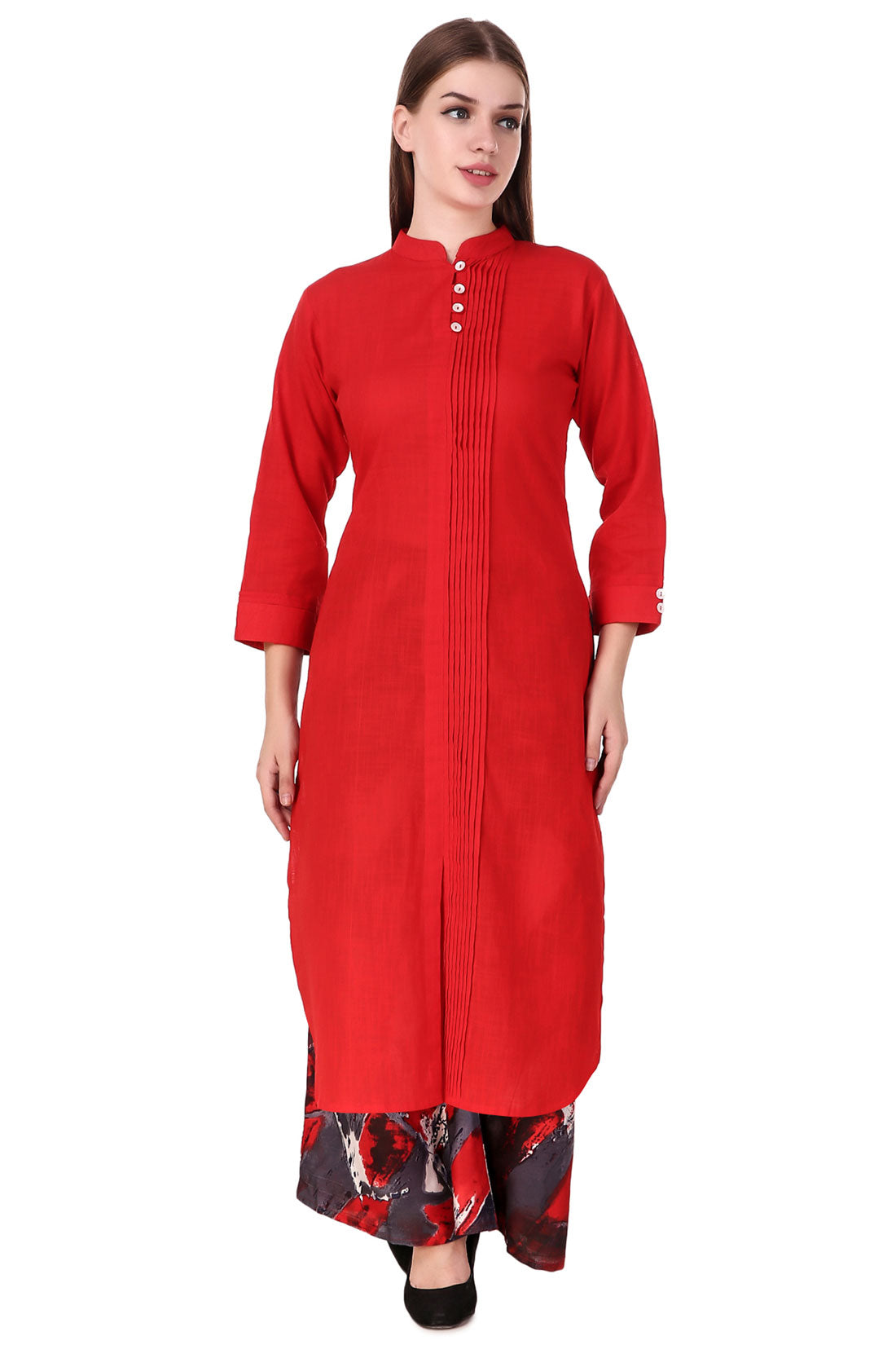 Fasense Women Solid Coral Red Cotton Kurta SK001