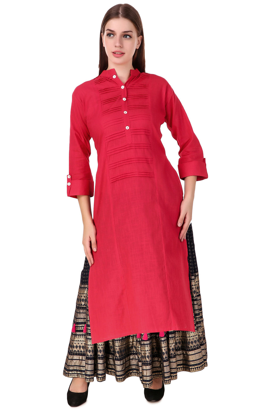 Fasense Women Solid Coral Red Cotton Kurta SK002