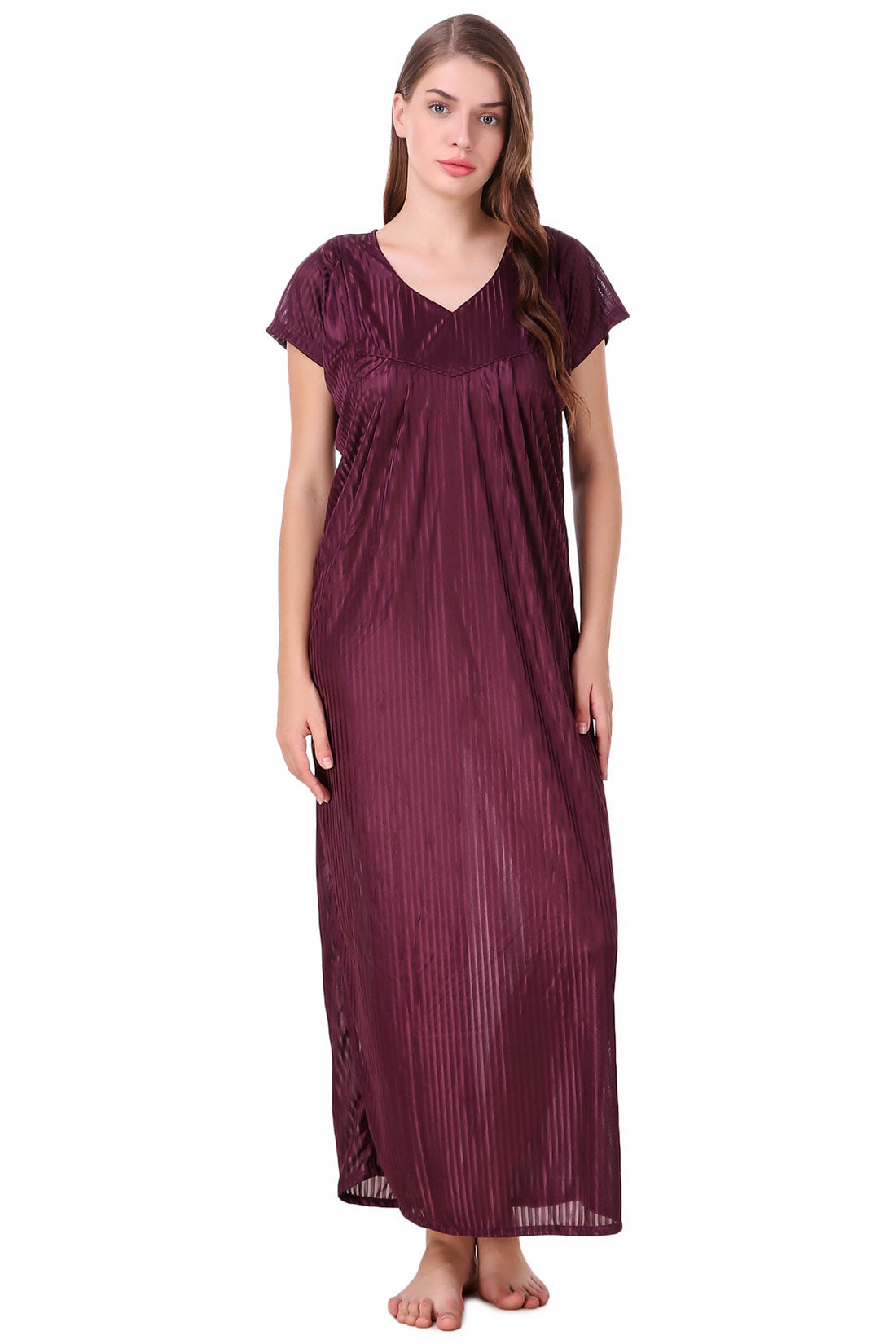 Fasense Women's Satin Nightwear Long Nighty SR021