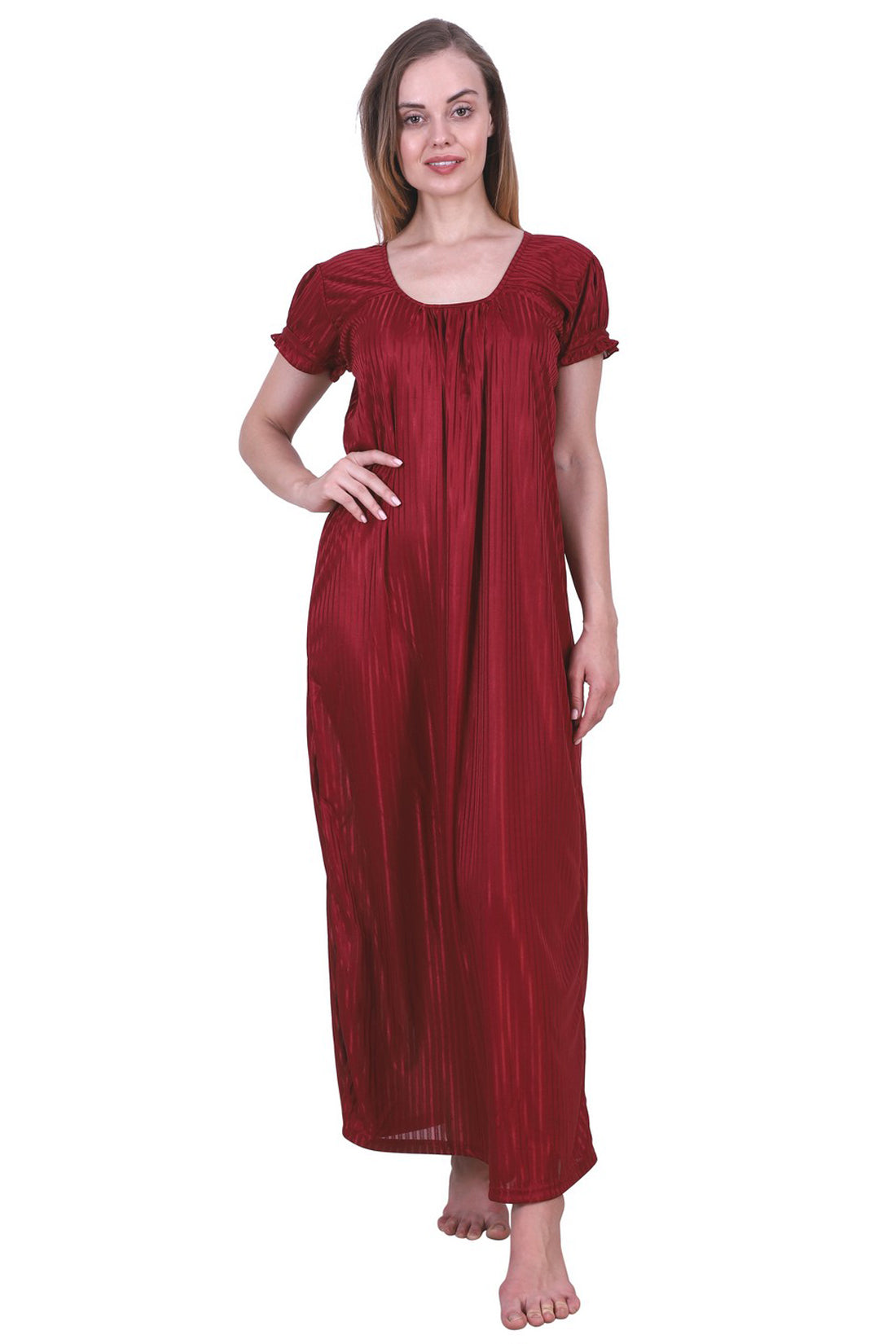 Fasense Women's Satin Nightwear Long Nighty SR022