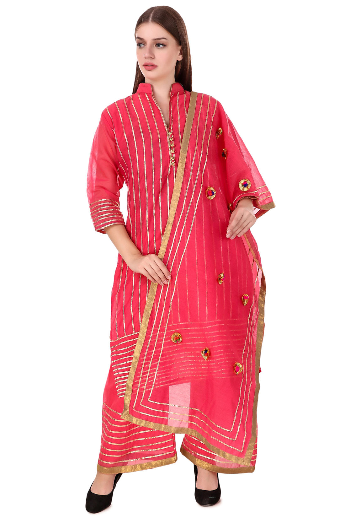Fasense Coral Red Stripped Kurta and Palazzo Set for Women, VG010