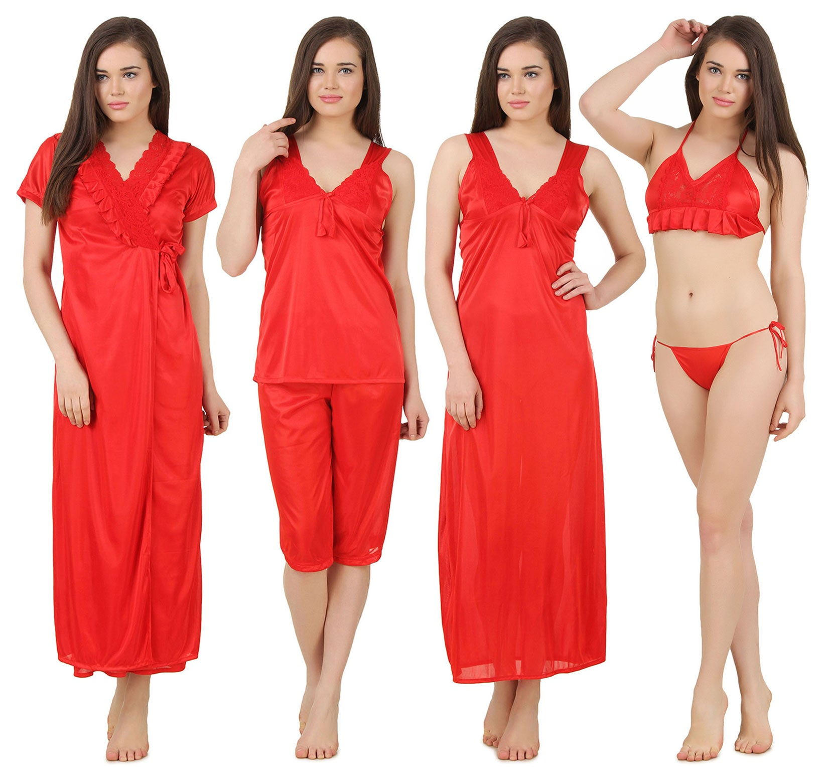 Fasense Satin 6 PCs Set of Long Wrap Gown, Nighty, Top, Capry, Bra & Thong GT002 - fasensestore