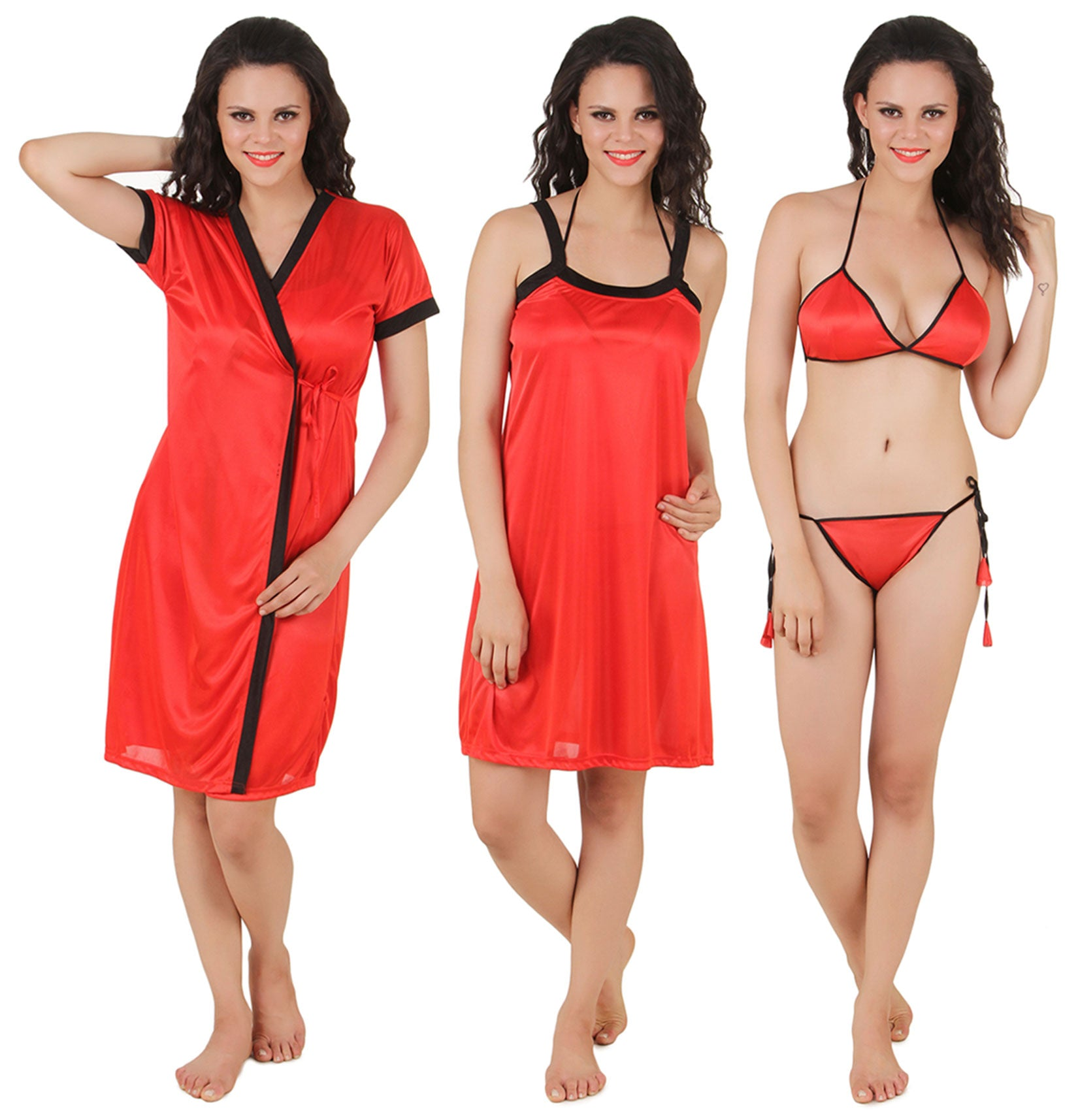 Fasense Satin 4 PCs Set, Nighty, Robe, Bra & Thong DP100 - fasensestore