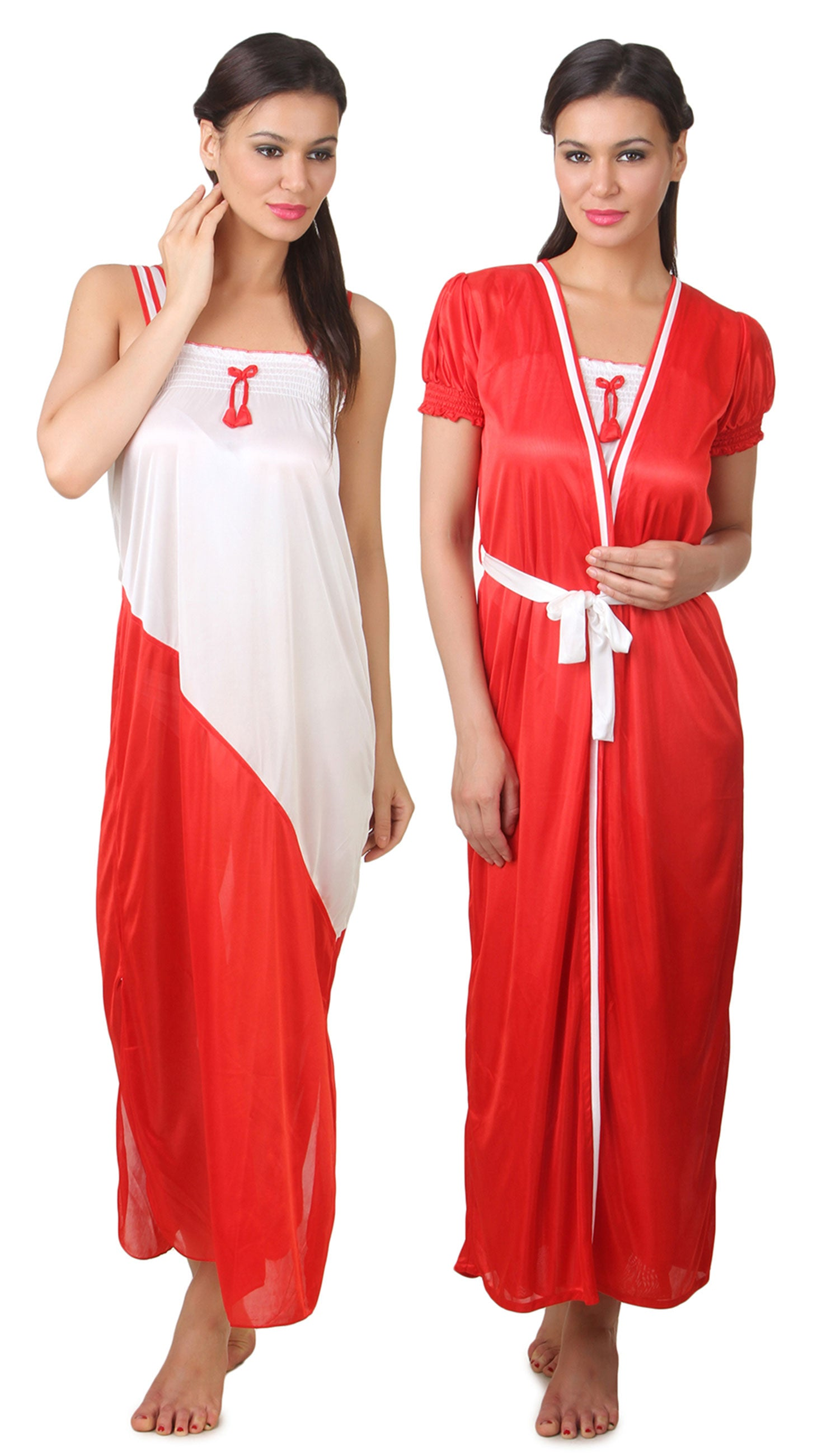 Fasense Satin Nightwear 2 PCs Set Of Nighty & Robe FA050 - fasensestore