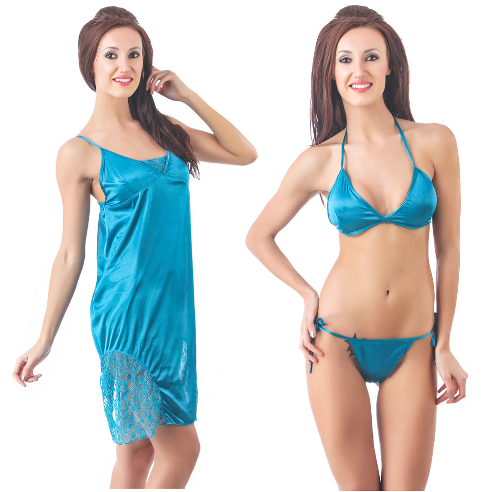 Fasense Satin 3 PCs Set of Nighty, Bra & Thong DP103 - fasensestore