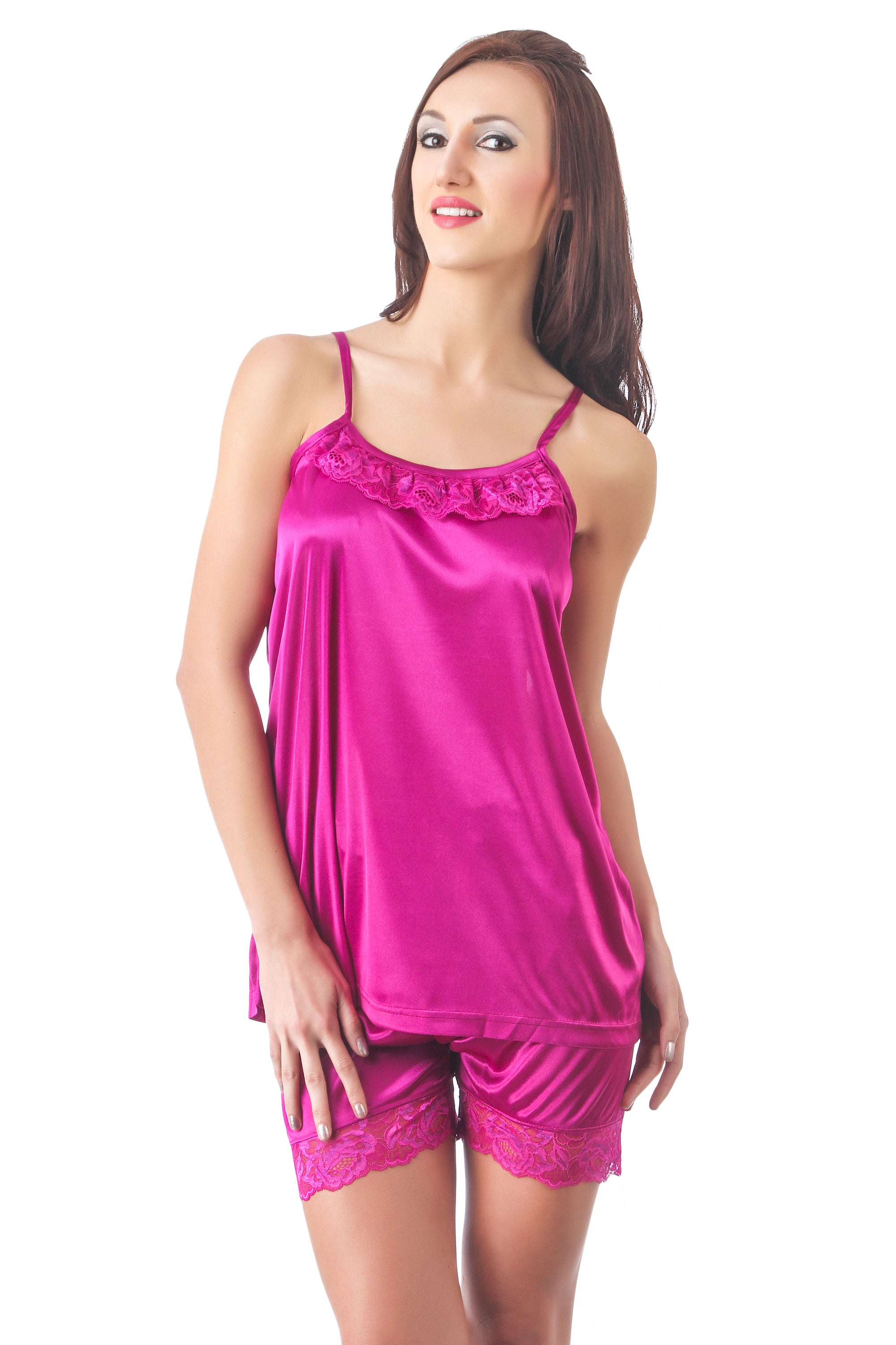 Fasense soft & smooth satin nightwear top and shorts night suit for girls DP087 - fasensestore