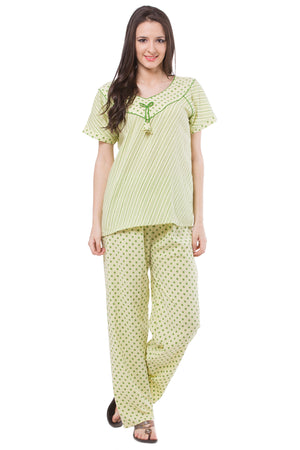 Fasense Polka Print Cotton Nightwear Top & Pyjama Set DP129 - fasensestore