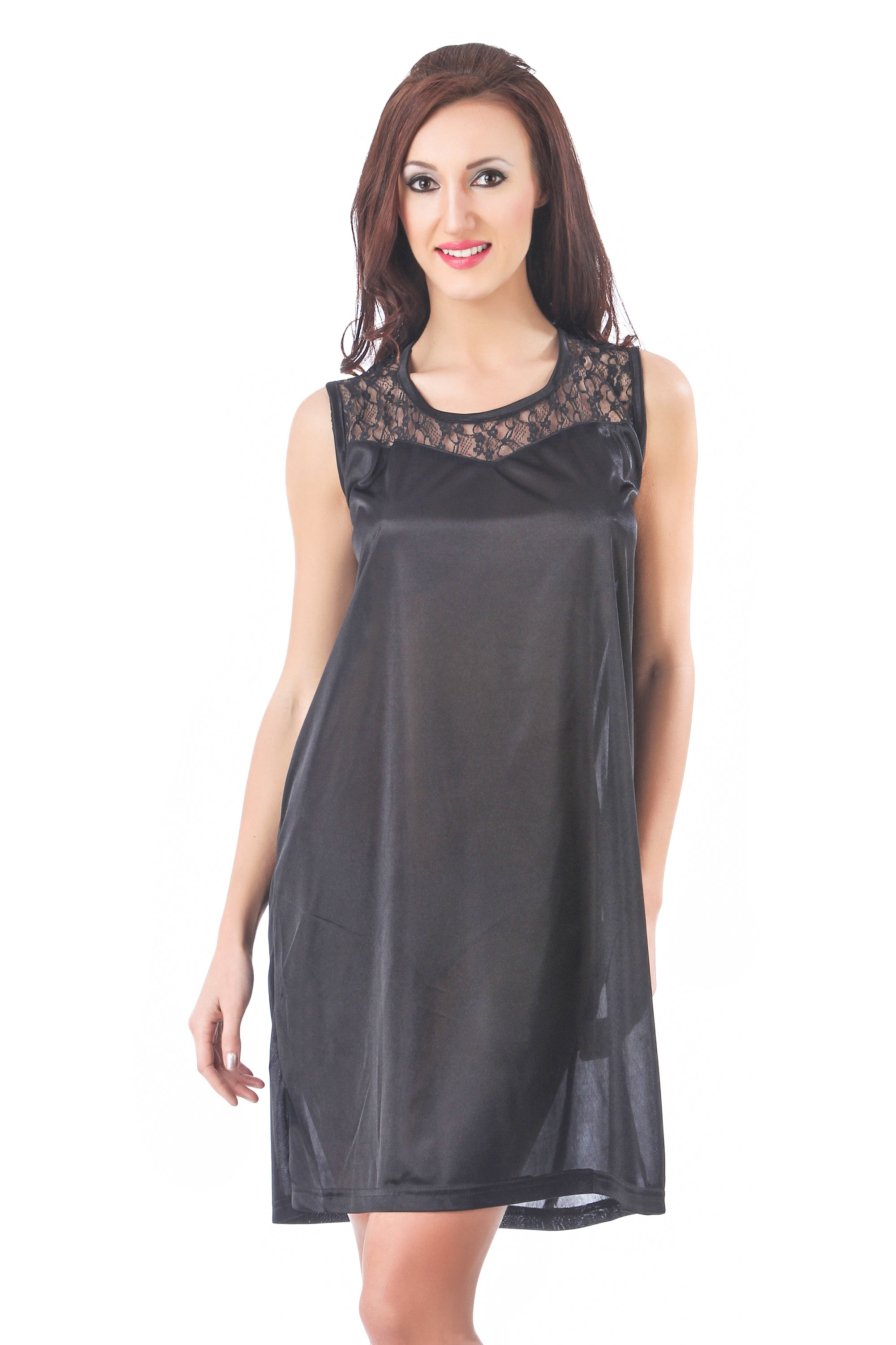 Fasense Exclusive Solid Satin Short Nighty DP078 A - fasensestore