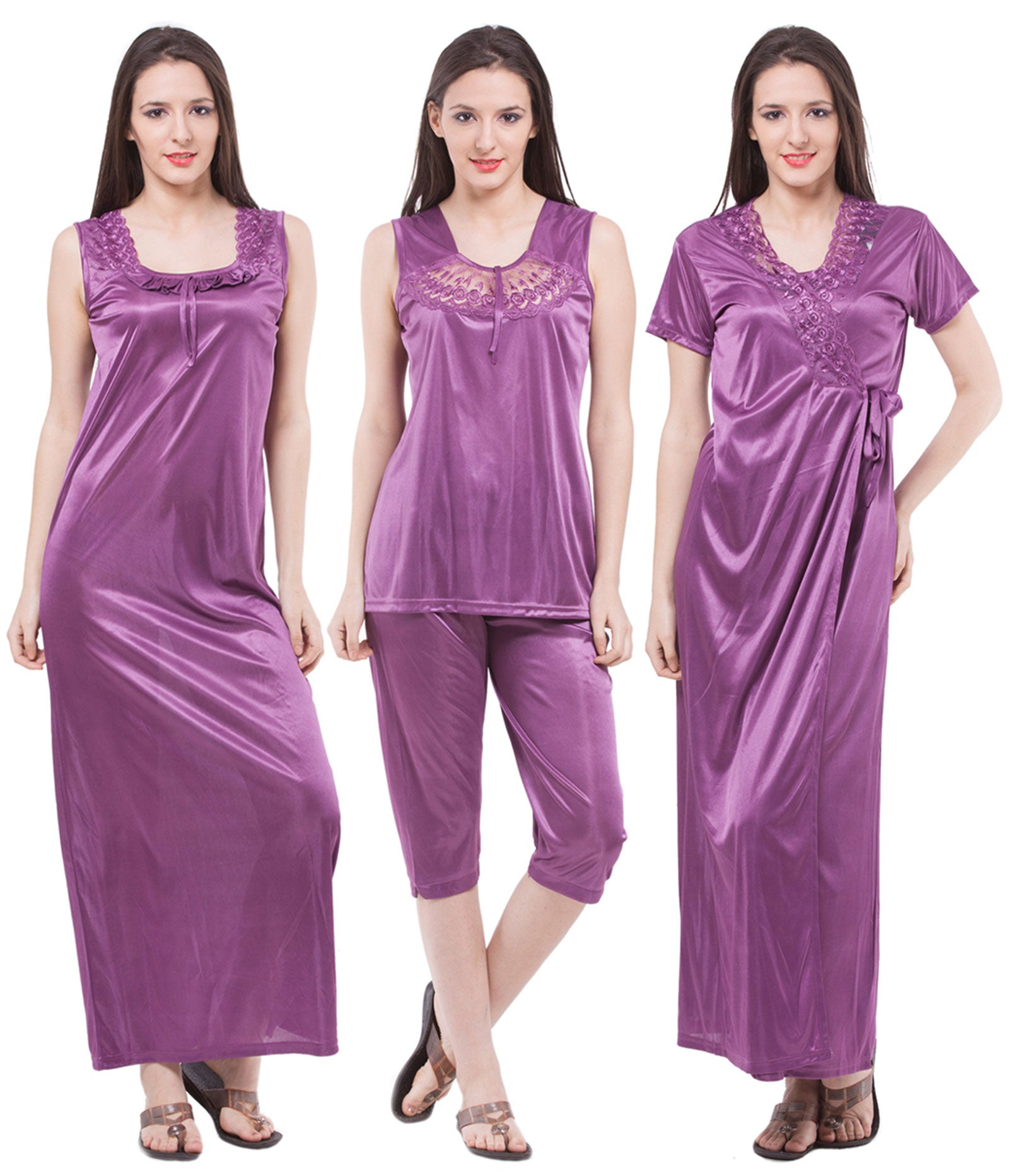 Fasense Satin 4 PCs Set Of Long Nighty, Wrap Gown Top & Capry DP117 - fasensestore