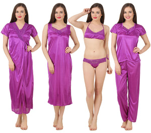 Fasense Satin 6 PCs Set of Long Wrap Gown, Nighty, Top, Pyjama, Bra & Thong GT001 - fasensestore