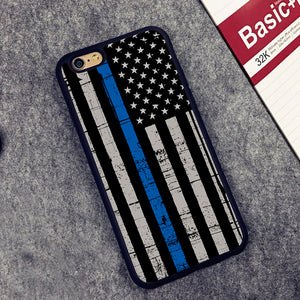 Police Blue line American Flag iPhone Case