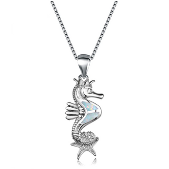 Aquastone™ -  Fire Opal Studded Royal Seahorse Necklace