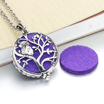 Vintage Perched Owl Essential Oil Diffuser Locket Necklace with 1 Easy-Switch Oil Pad