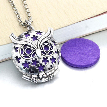 Vintage Floral Owl Essential Oil Diffuser Locket Necklace with 1 Easy-Switch Oil Pad