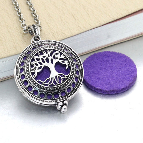 Vintage Tree of Wisdom Essential Oil Diffuser Locket Necklace with 1 Easy-Switch Oil Pad