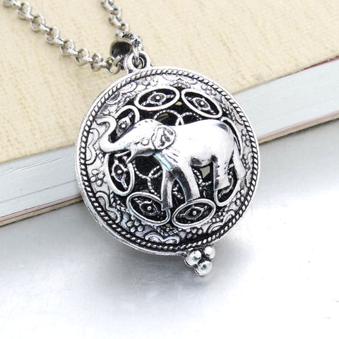 Vintage Elephant Essential Oil Diffuser Locket Necklace with 1 Easy-Switch Oil Pad