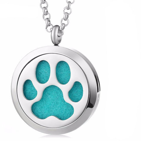 Paw Print Essential Oil Diffuser Locket Necklace with 5 Easy-Switch Oil Pads