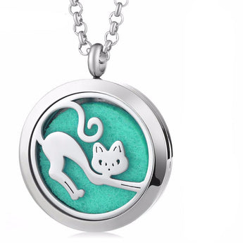 Kitty Cat Essential Oil Diffuser Locket Necklace with 5 Easy-Switch Oil Pads