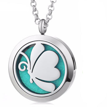 Butterfly Essential Oil Diffuser Locket Necklace with 5 Easy-Switch Oil Pads