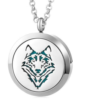 Wild Wolf Essential Oil Diffuser Locket Necklace with 5 Easy-Switch Oil Pads