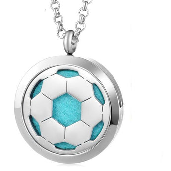 Soccer Ball Essential Oil Diffuser Locket Necklace with 5 Easy-Switch Oil Pads