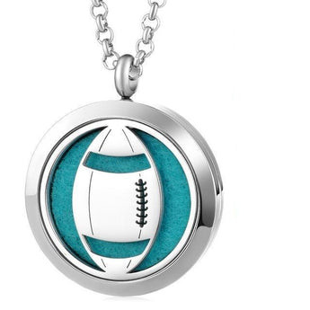 American Football Essential Oil Diffuser Locket Necklace with 5 Easy-Switch Oil Pads