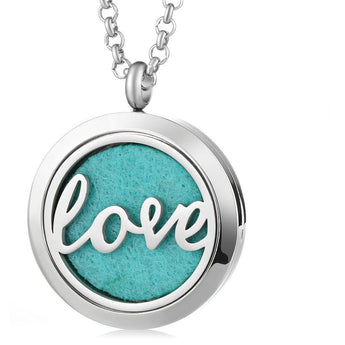 Love Essential Oil Diffuser Locket Necklace with 5 Easy-Switch Oil Pads