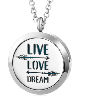 Live Love Dream Essential Oil Diffuser Locket Necklace with 5 Easy-Switch Oil Pads