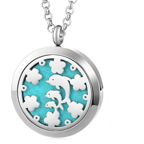 Dolphin Delight Essential Oil Diffuser Locket Necklace with 5 Easy-Switch Oil Pads
