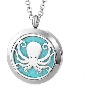 Octopus Essential Oil Diffuser Locket Necklace with 5 Easy-Switch Oil Pads