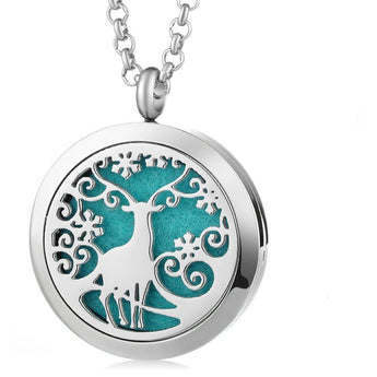 Majestic Deer Essential Oil Diffuser Locket Necklace with 5 Easy-Switch Oil Pads