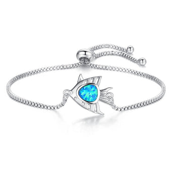 Aquastone™ - Blue Fire Opal Angel Fish Bracelet