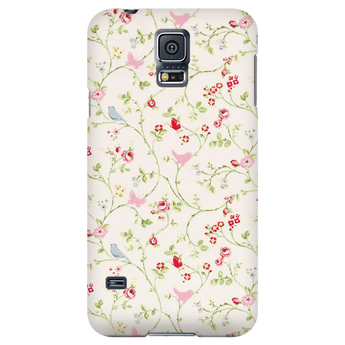 Pink & Blue Birds Vintage Floral Samsung Galaxy & iPhone Case