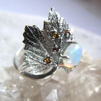 Celticá™ - Studded Maple Leaf Opalite Ring