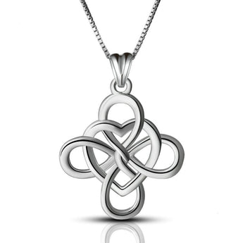 Asthōre™ Four Leaf Clover Heart Sterling Silver Necklace