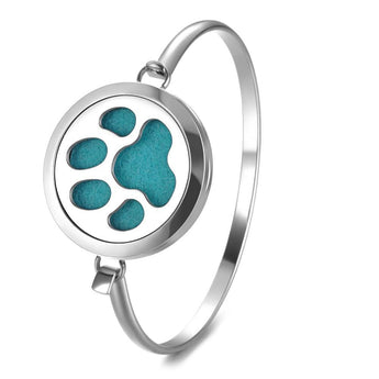Paw Print Essential Oil Diffuser Bangle with 5 Easy-Switch Oil Pads
