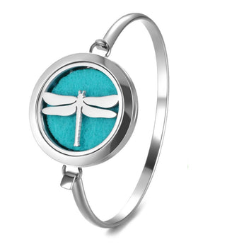 Dragonfly Essential Oil Diffuser Bangle with 5 Easy-Switch Oil Pads