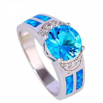 Aquastone™ - Round Aquamarine & Blue Fire Opal Ring