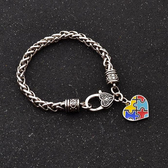 Autism Awareness Enamel Heart Pendant Bracelet