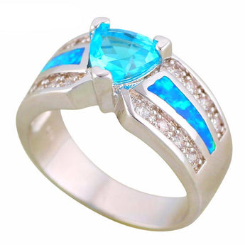 Aquastone™ - Triangle Aquamarine & Blue Fire Opal Ring