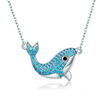 Azuli™ - Orca with Blue Gems Sterling Silver Necklace