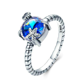 Azuli™ - Starfish and Blue Seaside Gem Sterling Silver Ring
