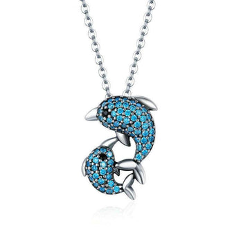 Azuli™ - Dolphin Love with Elegant Blue Gems Sterling Silver Necklace