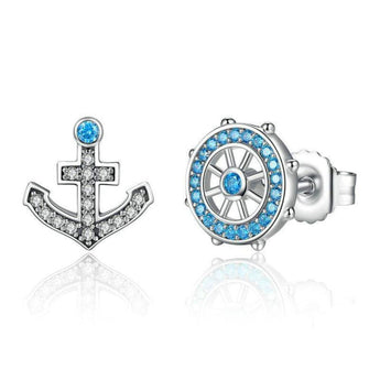 Azuli™ - Sailor's Rudder and Anchor Sterling Silver Earrings