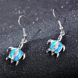 Aquastone™ - Blue and White Fire Opal Baby Sea Turtles with White Crystals Earrings