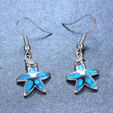 Aquastone™ - Blue Fire Opal Baby Starfish Earrings